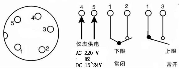 大功率电接点压力表控制连接示意图:(上下限式)