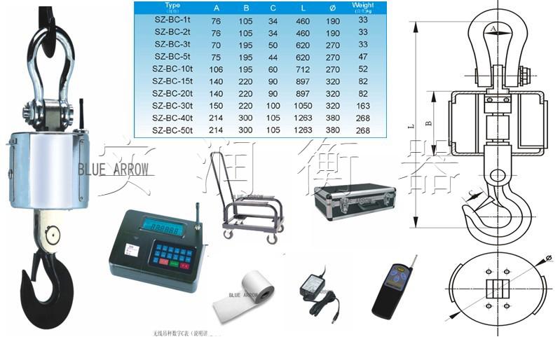 储存,向计算机或大屏幕传送称重结果,是一种比较先进的电子吊秤.