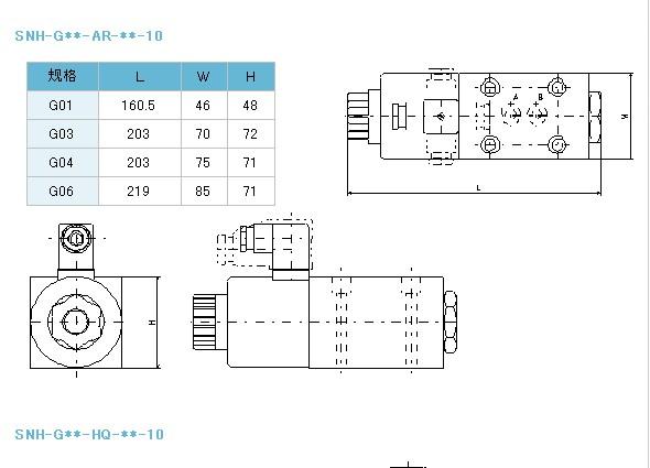 不二越snh系列电磁换向阀,nachi换向阀用途规格尺寸图图片
