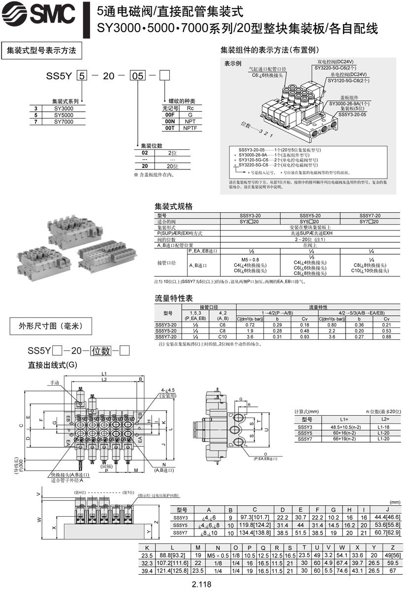 现货日本smc集装式电磁阀ss5y3-20p-x4