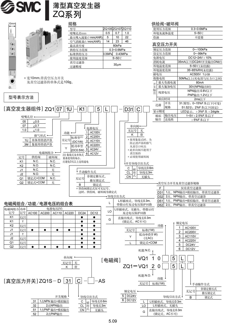 现货日本smc薄型真空发生器zzq102-bsb