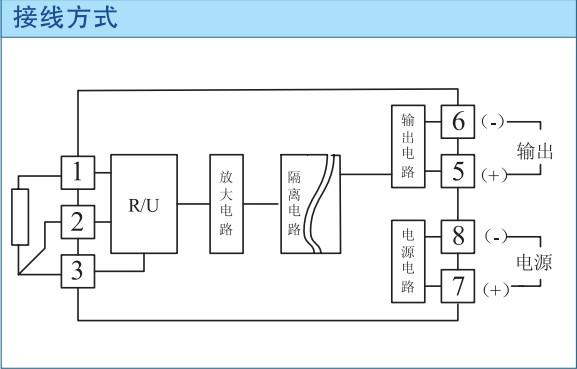 端子型热电阻信号隔离器的接线方式