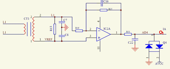 图3 电流信号电路   1.4 接口设计   AGP的接口包括人机交互单元、RS485通讯接口、开关量输入输出接口。在设计各类接口的同时,需加入提高电磁兼容性能、耐压、触点保护等元件以提高装置的可靠性。   2 电参量计算及软件设计   2.1 基波、谐波、相角差等的计算   DFT的定义