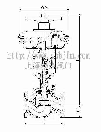 气动笼式单座调节阀结构图